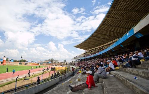 The north end of the Estadio Cuarto Centenario in Huancayo Peru.