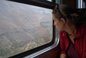 Looking out the window of the Huancayo train