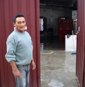 Francisco at the door to the brewery