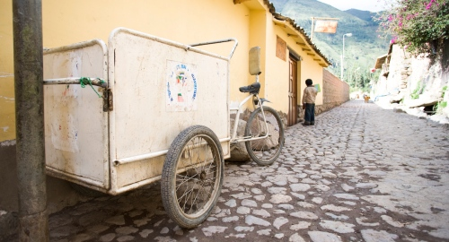 Need your garbage taken away? Call the owner of this cargo bike in Ollantaytambo Cusco Peru.