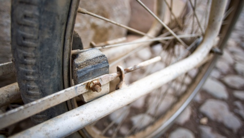 Foot brake on a cargo bike in Ollantaytambo Cusco Peru.