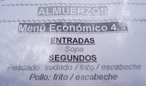 Menu at the Restaurante El Pacifico in Huanchaco