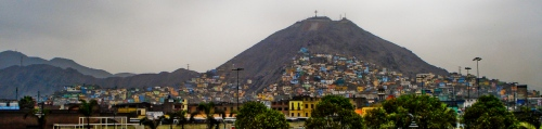 The slums of Lima crawling up the hills north of the Centro district and north of the river.
