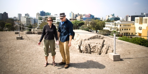 Robert and Jessie on some ruins in Lima.