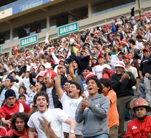The only goal in the Peru vs. Uruguay futbol match in Lima's Estadio Monumental