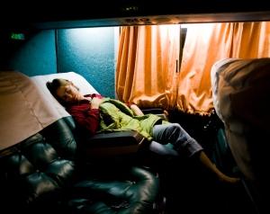 Asleep on the bus.