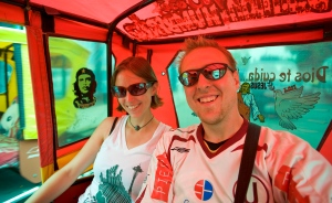 Robert and Jessie in a Mototaxi in Tumbes Peru.