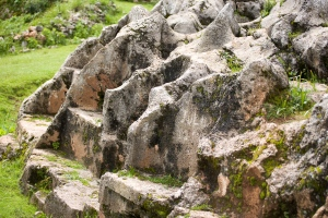 Carved Inca rock outcroppings at Chinchero