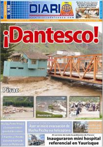 El Diario's front page, with images of Pisac flooding